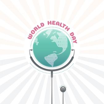 Światowy dnia zdrowia pojęcie, globalny zdrowie z stetoskopem
