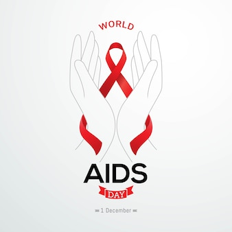 Światowy dzień aids banner czerwona wstążka świadomości