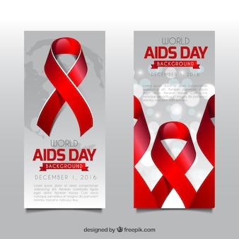 Światowy dzień aids czerwona wstążka banery