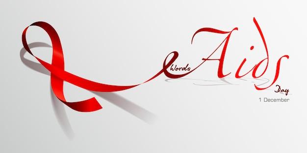 Światowy dzień aids. czerwona wstążka. ilustracja wektorowa koncepcja
