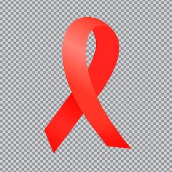 Światowy dzień aids. czerwona wstążka na przezroczystym tle. światowy dzień aids.