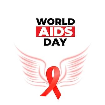 Światowy dzień aids. czerwona wstążka satynowa z ikoną skrzydła ptaka.