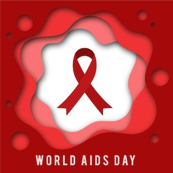 Światowy dzień aids czerwoną wstążką w stylu papierowym
