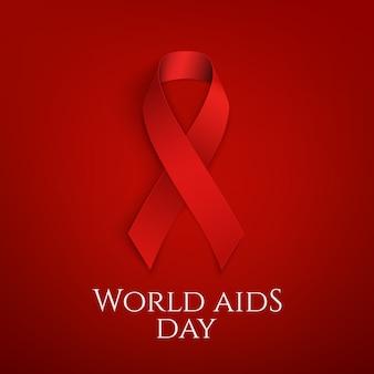 Światowy dzień aids. czerwona wstążka.