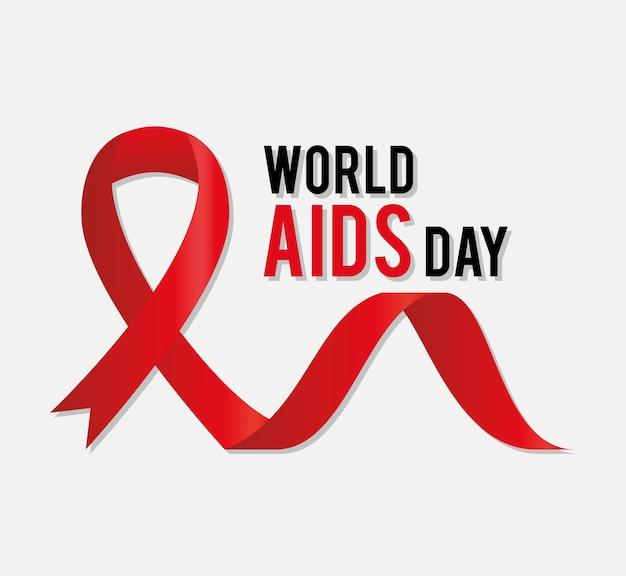 Światowy dzień aids napis z czerwoną wstążką