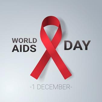 Światowy dzień aids świadomości czerwoną wstążką znak 1 grudnia profilaktyka medyczna