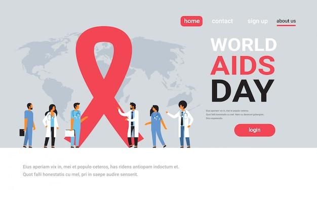 Światowy dzień aids świadomości czerwoną wstążką znak zespół lekarze grupa komunikacji globalne forum medyczne koncepcja zapobiegania