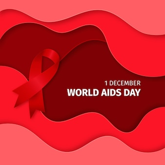 Światowy dzień aids wstążka na falistym tle w stylu papieru