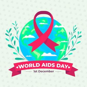 Światowy dzień aids wstążka na kuli ziemskiej