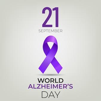 Światowy dzień alzheimera transparent z fioletową wstążką na jasnym tle.