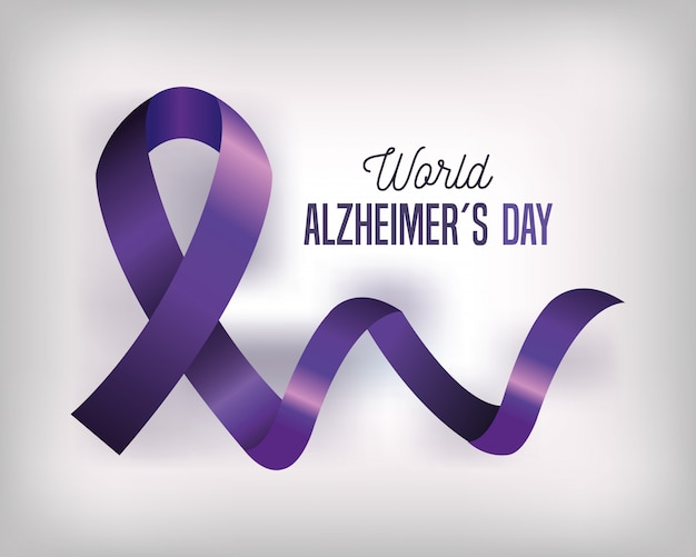 Światowy dzień alzheimera z fioletową wstążką