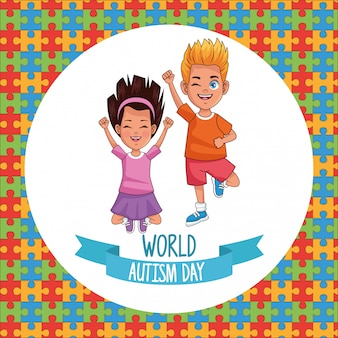 Światowy dzień autyzmu dzieci para z puzzli wektor ilustracja projektu