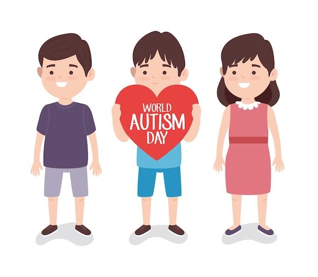 Światowy dzień autyzmu napis z małymi dziećmi podnoszącymi ilustrację serca