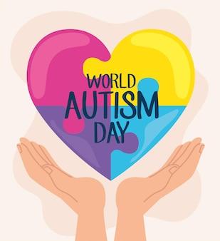 Światowy dzień autyzmu napis z rękami podnoszącymi puzzle serce ilustracja