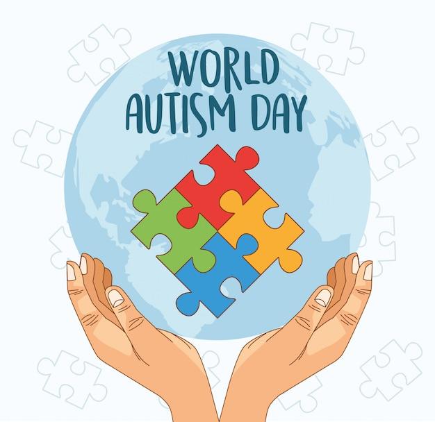 Światowy dzień autyzmu z układaniem rąk
