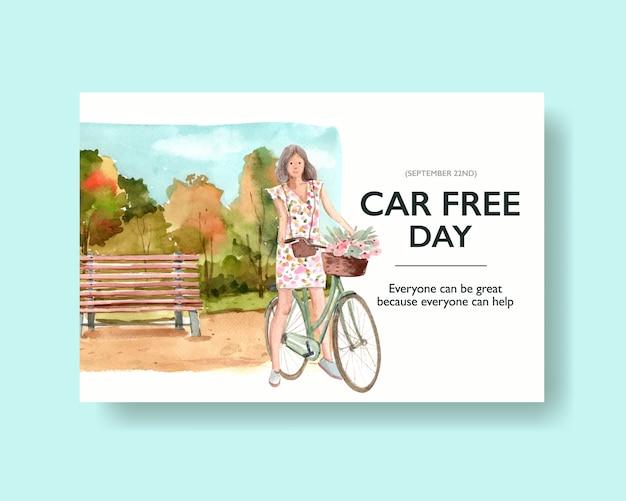 Światowy dzień bez samochodu dla mediów społecznościowych i internetu wektor akwarela.