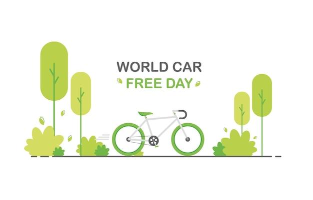 Światowy dzień bez samochodu w płaskiej konstrukcji