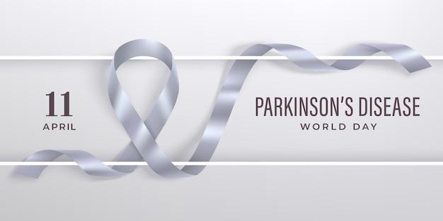 Światowy dzień choroby parkinsona ze srebrną fotorealistyczną wstążką i białą ramką