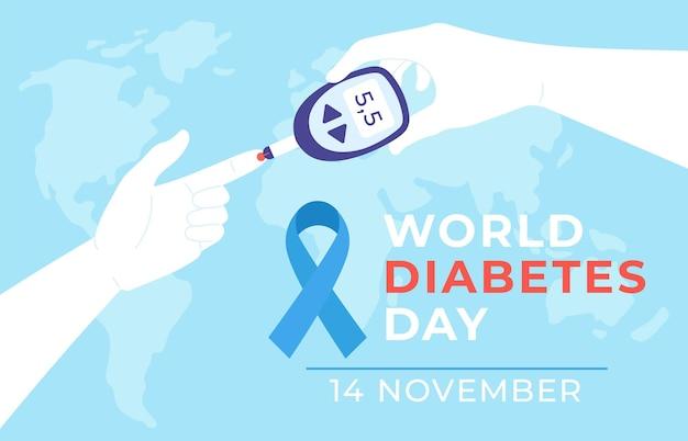 Światowy dzień cukrzycy. plakat choroby cukrzycowej z rękami trzyma glukometr i mierzy test poziomu cukru we krwi, niebieską wstążkę i mapę, baner wektorowy