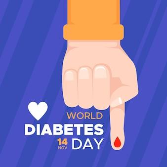 Światowy dzień cukrzycy w płaskiej konstrukcji