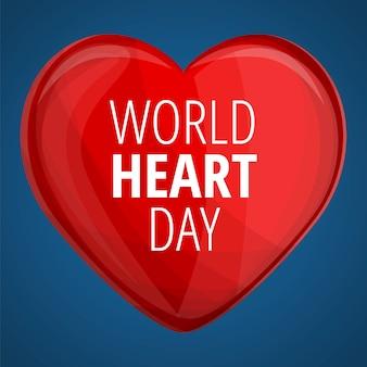 Światowy dzień czerwony sztandar serca, stylu cartoon