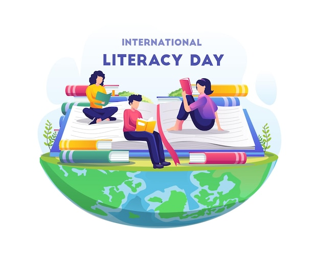 Światowy dzień czytania i pisania ludzie świętują dzień czytania i pisania, czytając książki ilustracja