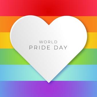 Światowy dzień dumy z tłem flagi dumy i białym sercem