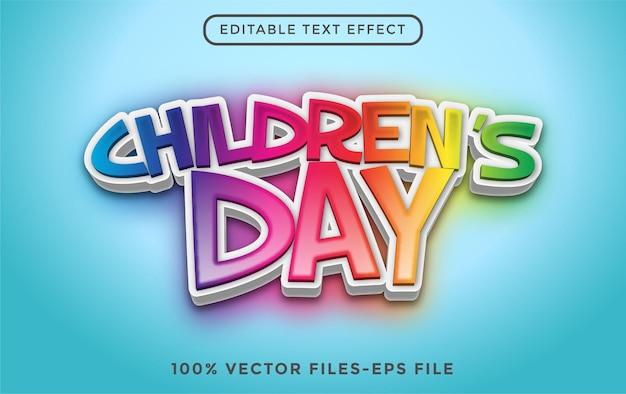 Światowy dzień dziecka 3d edytowalny efekt tekstowy premium wektorów
