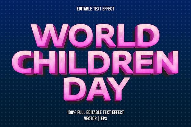 Światowy dzień dziecka edytowalny efekt tekstowy w stylu kreskówki