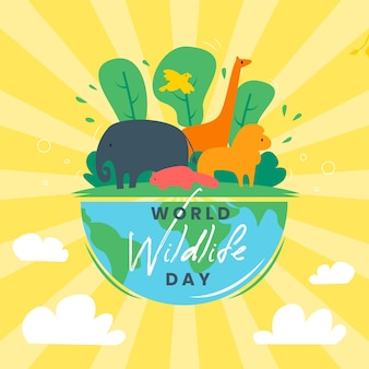 Światowy dzień dzikiej przyrody ze zwierzętami i naturą