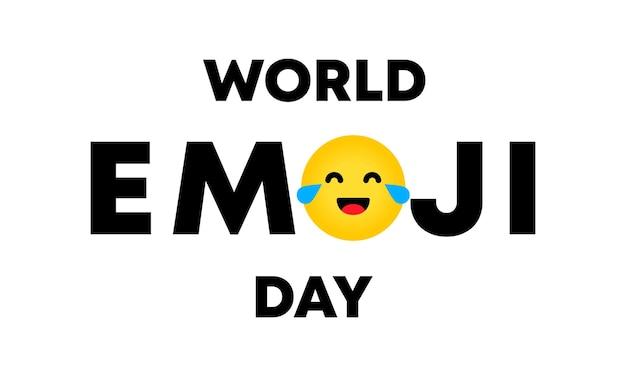 Światowy dzień emoji. plakat z tekstowym światowym dniem emoji. baner na kartkę z życzeniami, logo, pieczęć lub baner. wektor eps 10