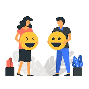 Światowy dzień emoji z ilustracją pary