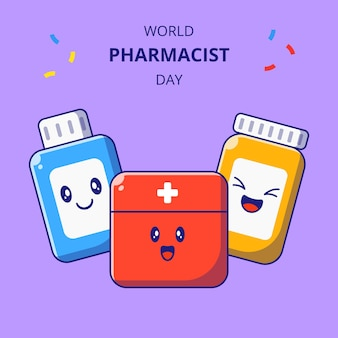 Światowy dzień farmaceuta ładny apteczka i butelki leków kreskówka zestaw znaków maskotka leków.
