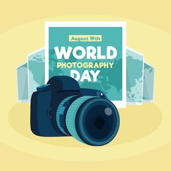 Światowy dzień fotografii w płaskiej konstrukcji