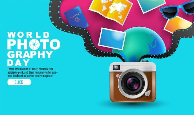 Światowy dzień fotografii, wydarzenie, aparat vintage, logo, typografia.
