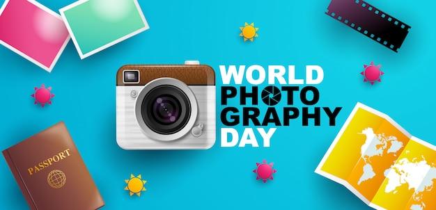 Światowy dzień fotografii, wydarzenie, baner, logo, typografia.