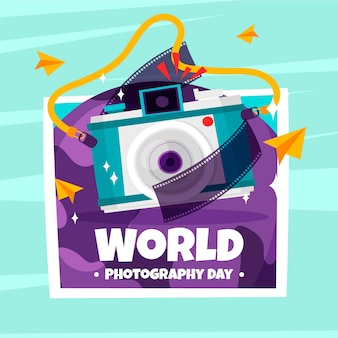 Światowy dzień fotografii z filmem z aparatu