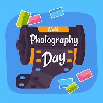 Światowy dzień fotografii z rolką aparatu