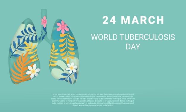 Światowy dzień gruźlicy szablon strony internetowej ilustracja papercut 24 marca symbol z piękną dekoracją tropikalnej przyrody,