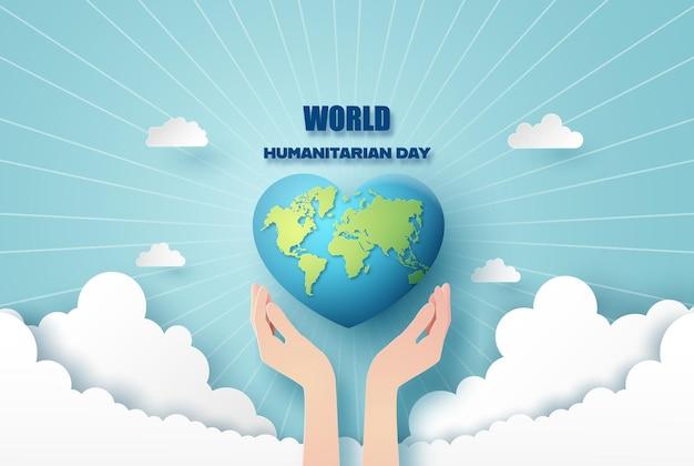 Światowy Dzień Humanitarny, Papierowy Kolaż I Styl Cięcia Papieru Z Cyfrowym Rzemiosłem. Premium Wektorów
