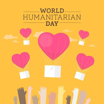 Światowy dzień humanitarny w płaskiej konstrukcji
