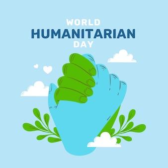 Światowy dzień humanitarny z rękami, trzymając się razem
