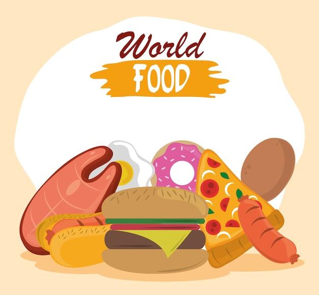 Światowy dzień jedzenia, fast food burger pizza pączek z kiełbasą hot dog.