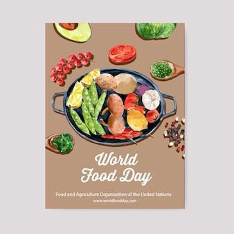 Światowy dzień jedzenia plakat z awokado, groszkiem, cytryną, pomidorową akwarelą.