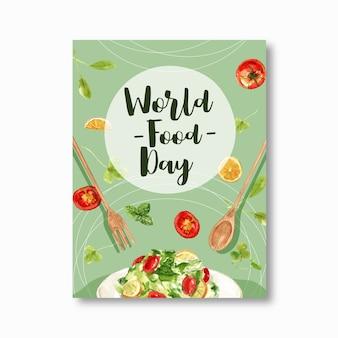 Światowy dzień jedzenia plakat z sałatką, łyżką, widelcem, pomidorową akwarelą.