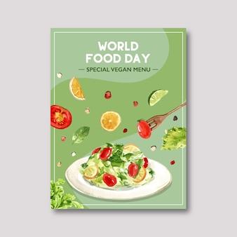 Światowy dzień jedzenia plakat z sałatką, pomidorem, cytryną, limonką, miętą akwarela ilustracji.