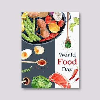 Światowy dzień jedzenia plakat ze stekiem, jajko na twardo, limonka, groszek akwarela ilustracja.