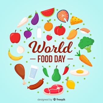 Światowy dzień jedzenia w płaskiej konstrukcji