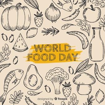 Światowy dzień jedzenia w ręcznie rysowane wzornictwo