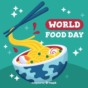 Światowy dzień jedzenia z makaronem w płaskiej konstrukcji